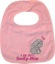 Babylätzchen in rosa mit Wunschname