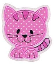 Applikation / Aufnäher Katze Rosa