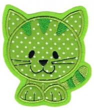 Applikation / Aufnäher Katze grün