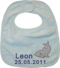 Babylätzchen in hellblau mit Wunschname