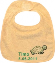 Babylätzchen in gelb mit Wunschname