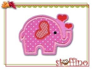 Applikation Elefant mit Herzen in rosa oder gelb