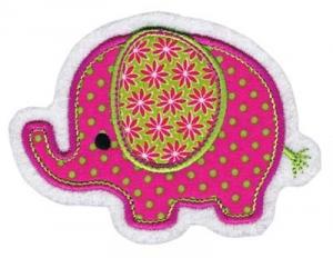 Applikation / Aufnäher Elefant pink