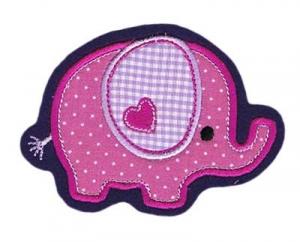 Applikation / Aufnäher Elefant pink Punkte