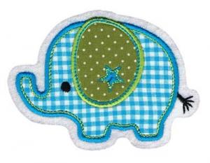 Applikation / Aufnäher Elefant türkis karo