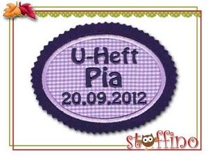 Applikation für das U-Heft mit Name u. Datum